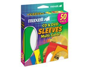 maxell 190134 Multi-Color CD & DVD Sleeve - 50 Pack