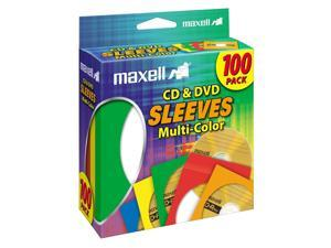 maxell 190132 Multi-Color CD & DVD Sleeves - 100 Pack (CD-403)