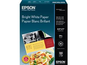 "Epson S041586 Bright White Paper - 8.50"" x 11"" - 500 / Box - Bright White"