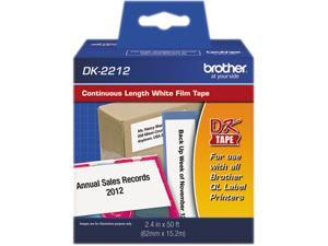 """Brother DK2212 Continuous Film Label Tape, 2.4"""" x 50 ft. Roll, White"""
