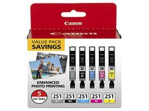 Canon CLI-251 Ink Cartridge - Combo Pack - Black/Cyan/Magenta/Yellow/Gray