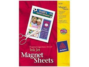 """Avery 3270 Printable Inkjet Magnet Sheets, 8.50"""" x 11.00, White, 5 packs"""