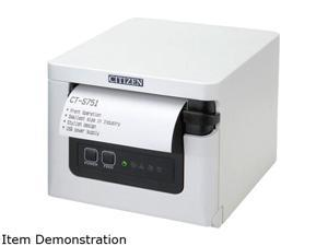"CITIZEN CT-S751 CT-S751NNUWH Direct Thermal 350 mm / sec 203 dpi 3"" Thermal POS Printer, Front Load, USB, White"