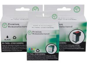 Green Project Inc. Compatible Black/Color High Yield Ink Cartridge (Alternative for HP 74XL/75XL/CB336WN/CB338WN)