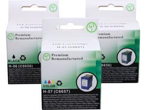 Green Project Compatible Ink Cartridge Replacement for HP- 2pc. HP 56 (C6656AN) , 1pc. HP 57 (C6657AN) - 3 Pack