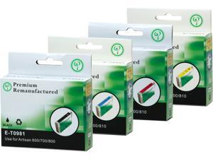 Green Project E-T0981(4)PK Black and Colors Compatible Epson E-T0981 Ink Cartridge 4 Pack