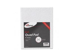 Ampad 22-030C 15lb Quadrille Pad w/4 Squares/Inch, Letter, White, 1 50-Sheet Pad/Pack