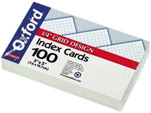Oxford 02035 Grid Index Cards, 3 x 5, White, 100/Pack