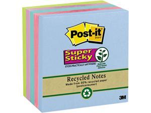 Post-it Notes Super Sticky 654-5SST Super Sticky Notes, 3 x 3, Five Tropic Breeze Colors, 5 90-Sheet Pads/Pack