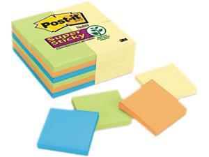 Post-it Notes Super Sticky 654-24SSCYN Office Pack, 3 x 3, Four Colors, 24 90-Sheet Pads/Pack