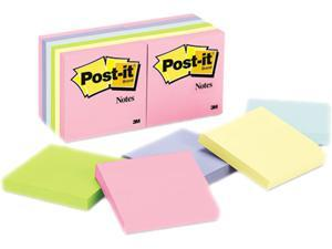 Post-it Notes 654-AST Original Pads in Pastel Colors,3 x 3, Five Pastel Colors, 12 100-Sheet Pads/Pack