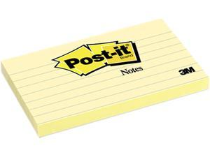 Post-it Notes 635-YW Original Notes, 3 x 5, Lined, Canary Yellow, 12 100-Sheet Pads/Pack