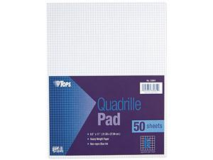 Tops 33061 Quadrille Pads, 6 Squares/inch, 8-1/2 x 11, White, 50 Sheets/Pad