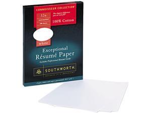 Southworth RD18CF 100% Cotton Résumé Paper, 32 lbs., 8-1/2 x 11, White, 100/Box