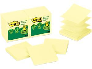 Post-it Recycled Pop-Up Notes Refill, 3 x 3, Canary YW,100 Sheets/Pad, 12 Pads/Pack