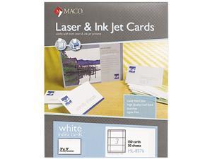 Maco Unruled Index Cards, 3 x 5, White, 150/Box