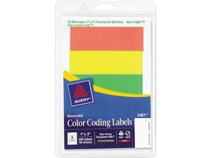 """Avery 05481 1"""" x 3"""" 200 Sheet Removable Print or Write Color Coding Labels"""