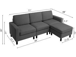 Bossin Convertible Sectional Tiny Sofa Couch for Living Room, Reversible Chaise with Modern Linen Fabric, L-Shaped 3-seat Sofa Couch with Ottoman for Small Space, Apartment,Dorm,Juvenile
