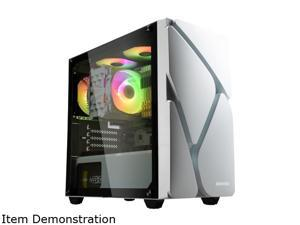 Enermax MarbleShell MS20 ARGB Tempered Glass Side Panel Compact Micro-ATX Mini Tower PC Gaming Case Dual ARGB Fans (3 Pre-Installed Fans) - White