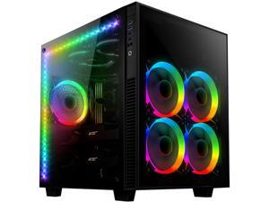 anidees AI Crystal Cube V3 Dual Chamber Tempered Glass EATX /ATX PC Gaming Case with 5 RGB Fans / 2 LED Strips AR3 version - Black AI-CL-Cube-AR3
