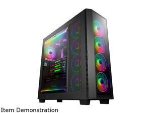 Anidees AI Crystal XL PRO RGB Full Tower Tempered Glass XL-ATX/E-ATX/ATX Gaming Case Support 480/360 Radiator, Includes 5 x 120 PWM RGB Fans / 2 x RGB LED Strips - Black AI-XL-PRO-RGB (PC Case ONLY)
