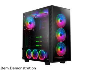 anidees AI Crystal M Middle Tower Tempered Glass CEB-ATX/ATX PC Gaming Case Support 360/240 Radiator, Includes 4 x 120 PWM RGB Fans - Black AI-CL-M (PC Case ONLY)