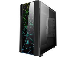 Segotep Phoenix ATX Black Mid Tower PC Gaming Computer Case USB 3.0 Ports with Tempered Glass & RGB Front Panel