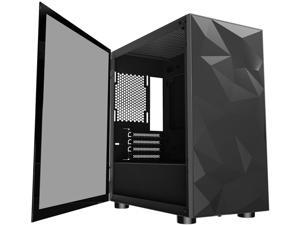 darkFlash DLM 21 Black Micro ATX Mini Tower Micro-ATX Computer Case with Door Opening Tempered Glass Side Panel