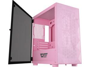 darkFlash DLM21 Pink MESH Micro ATX Mini ITX Tower MicroATX Black Computer Case with Door Opening Tempered Glass Side Panel & Mesh Front Panel