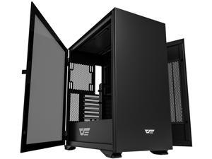 darkFlash DLX22 E-ATX/ATX/Micro ATX/Mini ATX Black Computer Case with Two Door Opening, Tempered Glass Side Panel Support 360mm Radiator w/ Type-C Port