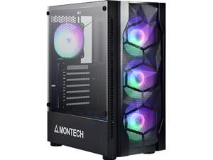 Montech X1 Black ATX Mid-Tower Case/High Airflow, Front Mesh Ventilation, Tempered Glass Side Panel, Pre-Installed 4 x 120mm Autoflow Rainbow LED Fans