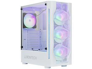 Montech X1 White ATX Mid-Tower Case/High Airflow, Front Mesh Ventilation, Tempered Glass Side Panel, Pre-Installed 4 x 120mm Autoflow Rainbow LED Fans