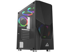 Montech Fighter 500 ATX Mid-Tower Computer Gaming Case/Pre-Installed Four Rainbow LED Fans, High-Airflow, Mesh 3D Front Panel, Tempered Glass, Magnetic Dust Filter/ATX,Micro ATX,Mini-ITX, Black