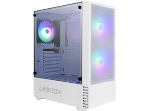 Montech X2 MESH White ATX Mid-Tower Case/High Airflow, Fine Mesh Front Panel, Full Glass Side Panel, Pre-Installed 2 x 140mm, 1 x 120 mm Rainbow Led Fans*2