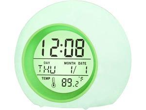 BZ Alarm Clock for Kids, 7 Colors Changing, LED Digital, Round, Battery, Temperature Detect, One Tap Control, Alarm Setting, Snooze, 12/24 H, for Kids, Home (Green)