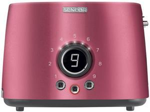 Sencor STS 6054RD Electric Wide 2 Slice High Lift Toaster w/ Rack, Metallic Red