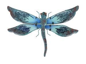 Liffy Metal Dragonfly Garden Wall Decor Outdoor Fence Art Outside Hanging Decorations for Living Room, Bedroom,14 x 9.8 x 0.8 inch,0.62 lbs