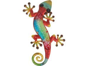 Liffy Metal & Glass Gecko Wall Decor hanging sculpture for patio, porch, room,15.2x7.5x0.6 inch,0.47 lbs