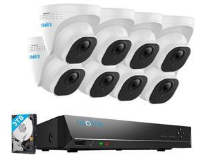 Reolink 8MP Security Camera System 4K Ultra HD 16ch PoE NVR & 8 PCS PoE IP Cameras Surveillance NVR Kit 3TB HDD RLK16-800D8