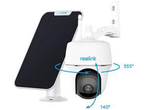 Reolink Pan Tilt Outdoor Security Camera Rechargeable Battery Wireless 1080p WiFi IP Camera, Color Night Vision Weatherproof PIR Motion Detection Surveillance Camera, Argus PT with Solar Panel