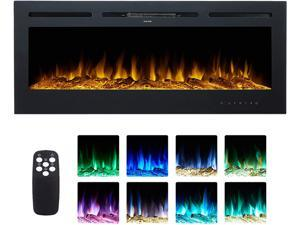 CO-Z 50 inch Recessed or Wall Mounted Electric Fireplace Insert 750W 1500W Embedded Space Heater with Remote Control, 5 Flame Levels, 9 Colors for Bedroom TV Stands Living Room Mantels More, Black