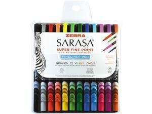 Sarasa Stick Porous Point Pen, Fine 0.8mm, Assorted Ink/Barrel, 12/Set 67012