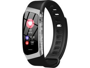 Hamoery E18 Smart Bracelet True Color Screen Pedometer GPS Track Continuous Heart Rate Sport Smart Wear (Black Silver)