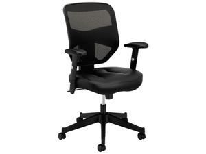 Basyx VL531 Series High-Back Work Chair Mesh Back Padded Mesh Seat Black Leather