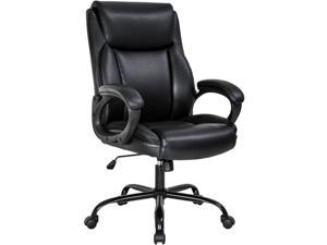 Office Chair Ergonomic Desk Chair PU Computer Chair with Lumbar Support Arms High Back Executive Leather Task Chair for Men(Black)
