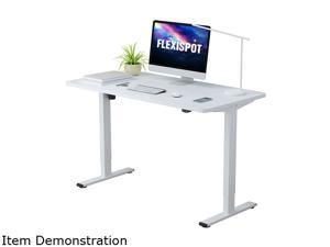 "Flexispot Electric Height Adjustable Home Office Desk Standing Desk with Whole-Piece White Desktop 48"" x 30"" Ergonomic 2-Button Controller Gaming Desk"