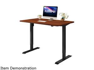 "Flexispot Electric Home Office Desk Standing Desk with Whole-Piece Desktop 48"" x 24"" Ergonomic 2-Button Height Adjustable Stand Up Desk Black Frame and Mahogany Desktop"