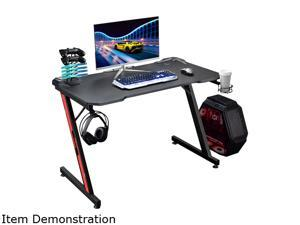 Homall 43 Inch Ergonomic Gaming Desk Z-shaped Racing Style PC Computer Desk Home Office Computer Table Gamer Workstation with Large Carbon Fiber Surface, Cup Holder, Headset Hook, Game Handle Rack
