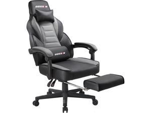 BOSSIN Racing Style Gaming Chair Computer Desk Chair with Footrest and Headrest, Ergonomic Design, Large Size High-Back E-Sports Chair, PU Leather Swivel Office Chair (Gray)