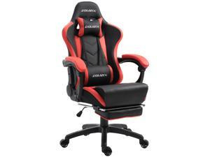 Dowinx Gaming Chair Ergonomic Racing Style Recliner with Massage Lumbar Support, Office Armchair for Computer PU Leather E-Sports Gamer Chairs with Retractable Footrest (Black&Red)